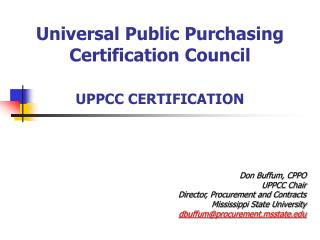 Universal Public Purchasing Certification Council UPPCC CERTIFICATION