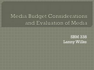 Media Budget Considerations and Evaluation of Media