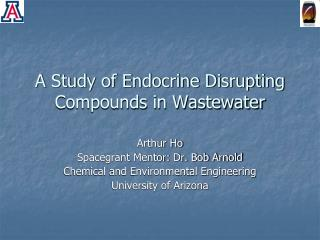 A Study of Endocrine Disrupting Compounds in Wastewater