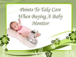 Points To Take Care When Buying A Baby Monitor