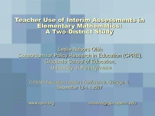Teacher Use of Interim Assessments in Elementary Mathematics:  A Two-District Study