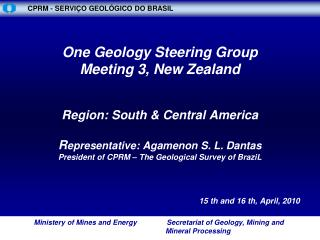 Ministério de Minas e Energia               Secretaria de Geologia Mineração e