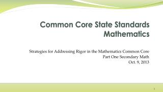 Common Core State Standards Mathematics