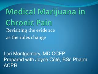 Medical Marijuana in Chronic Pain
