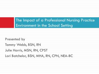 The Impact of a Professional Nursing Practice Environment in the School Setting