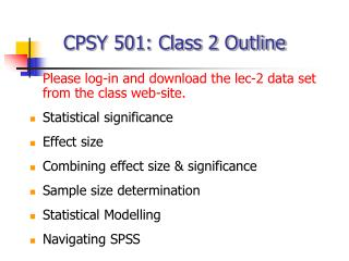 CPSY 501: Class 2 Outline