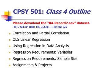 CPSY 501:  Class 4 Outline