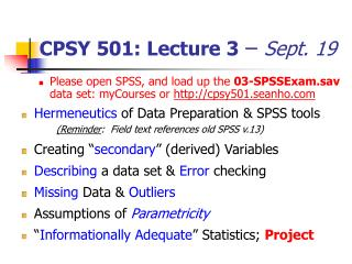 CPSY 501: Lecture 3  –  Sept. 19