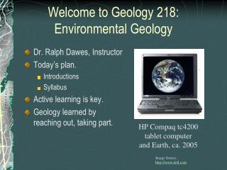 Welcome to Geology 218: Environmental Geology