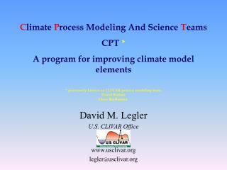 David M. Legler U.S. CLIVAR Office usclivar legler @ usclivar