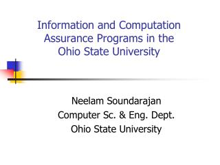 Information and Computation Assurance Programs in the Ohio State University