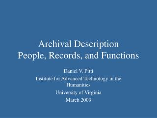 Archival Description People, Records, and Functions