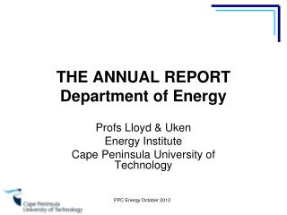 THE ANNUAL REPORT Department of Energy