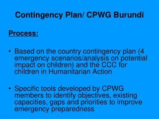 Contingency Plan/ CPWG Burundi