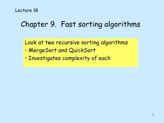 Chapter 9.  Fast sorting algorithms