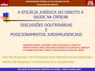 A EFICÁCIA JURÍDICA DO DIREITO À SAÚDE NA CRFB/88