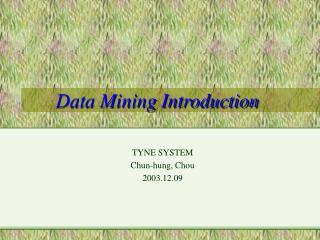 Data Mining Introduction