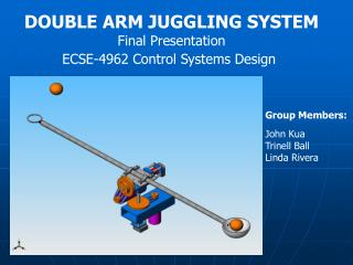 DOUBLE ARM JUGGLING SYSTEM Final Presentation ECSE-4962 Control Systems Design