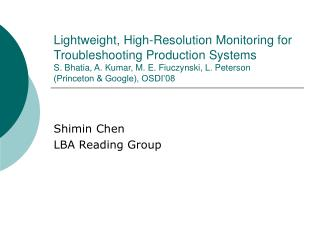 Shimin Chen LBA Reading Group