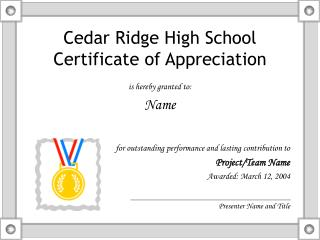 Cedar Ridge High School Certificate of Appreciation