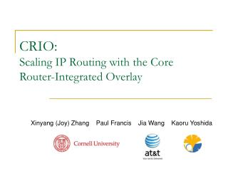 CRIO: Scaling IP Routing with the Core Router-Integrated Overlay