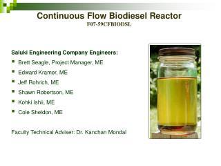 Continuous Flow Biodiesel Reactor F07-59CFBIODSL