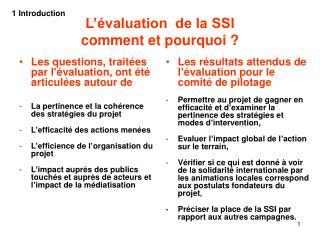 L'évaluation  de la SSI comment et pourquoi ?