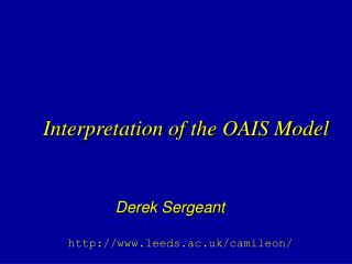 Interpretation of the OAIS Model