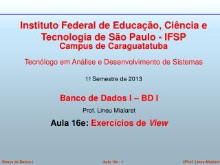 Banco de Dados I – BD I  Prof. Lineu Mialaret  Aula 16e:  Exercícios de  View