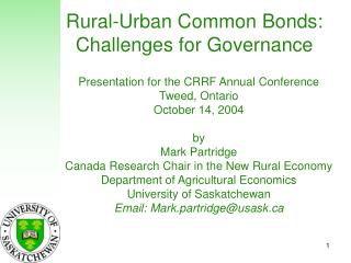 Rural-Urban Common Bonds:  Challenges for Governance