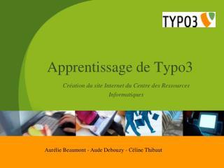 Apprentissage de Typo3