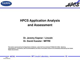 HPCS Application Analysis and Assessment