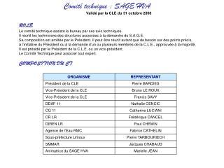 Comité technique: SAGE HVA Validé par la CLE du 31 octobre 2008 ROLE