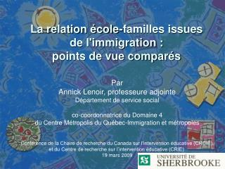 La relation école-familles issues de l'immigration : points de vue comparés