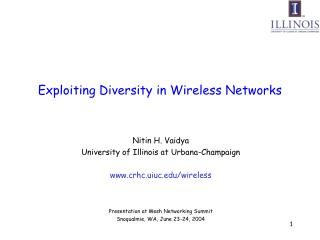 Exploiting Diversity in Wireless Networks
