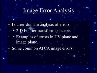 Image Error Analysis