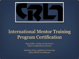 International Mentor Training Program Certification