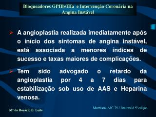 Bloqueadores GPIIb/IIIa  e Intervenção Coronária na Angina Instável