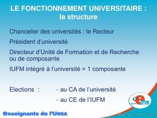 LE FONCTIONNEMENT UNIVERSITAIRE :  la structure