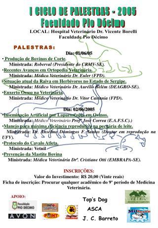 I CICLO DE PALESTRAS - 2005 Faculdade Pio Décimo
