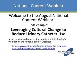 National Content Webinar