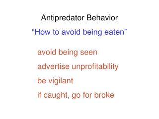 "Antipredator Behavior ""How to avoid being eaten"""