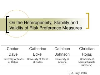 On the Heterogeneity, Stability and Validity of Risk Preference Measures