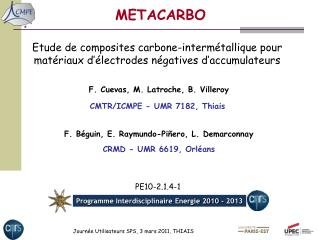 F. Cuevas, M. Latroche, B. Villeroy