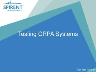 Testing CRPA Systems