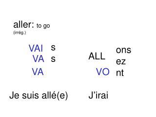 aller:  to go (irr ég.)