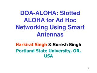 DOA-ALOHA: Slotted ALOHA for Ad Hoc Networking Using Smart Antennas