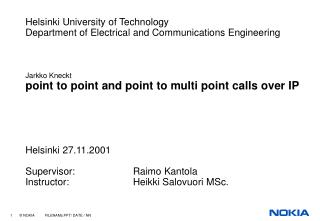 Helsinki University of Technology Department of Electrical and Communications Engineering