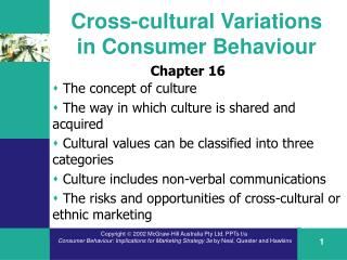 Cross-cultural  V ariations in  C onsumer  B ehaviour