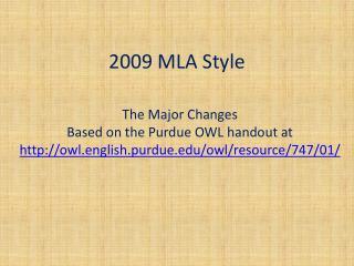 2009 MLA Style